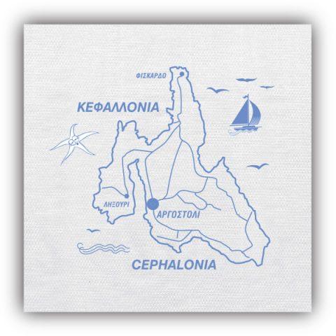 Λευκό τραπεζομάντηλο με Χάρτη