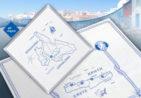 Τραπεζομάντηλα με χάρτη